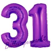 Zahl 31 Lila, Luftballons aus Folie zum 31. Geburtstag, 100 cm, inklusive Helium