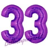 Zahl 33 Lila, Luftballons aus Folie zum 33. Geburtstag, 100 cm, inklusive Helium