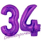 Zahl 34 Lila, Luftballons aus Folie zum 34. Geburtstag, 100 cm, inklusive Helium
