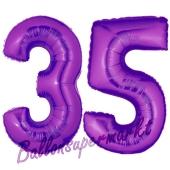 Zahl 35 Lila, Luftballons aus Folie zum 35. Geburtstag, 100 cm, inklusive Helium