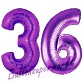 Zahl 36 Lila, Luftballons aus Folie zum 36. Geburtstag, 100 cm, inklusive Helium