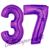 Zahl 37 Lila, Luftballons aus Folie zum 37. Geburtstag, 100 cm, inklusive Helium