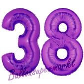Zahl 38 Lila, Luftballons aus Folie zum 38. Geburtstag, 100 cm, inklusive Helium