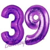 Zahl 39 Lila, Luftballons aus Folie zum 39. Geburtstag, 100 cm, inklusive Helium