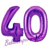 Zahl 40, Lila, Luftballons aus Folie zum 40. Geburtstag