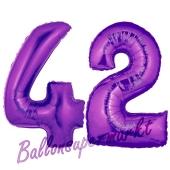 Zahl 42, Lila, Luftballons aus Folie zum 42. Geburtstag, 100 cm, inklusive Helium
