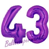 Zahl 43, Lila, Luftballons aus Folie zum 43. Geburtstag, 100 cm, inklusive Helium