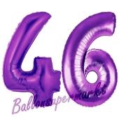 Zahl 46, Lila, Luftballons aus Folie zum 46. Geburtstag, 100 cm, inklusive Helium