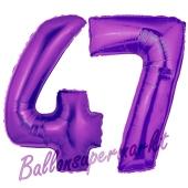 Zahl 47, Lila, Luftballons aus Folie zum 47. Geburtstag, 100 cm, inklusive Helium