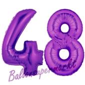 Zahl 48, Lila, Luftballons aus Folie zum 48. Geburtstag, 100 cm, inklusive Helium