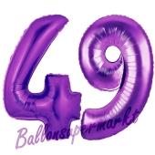 Zahl 49, Lila, Luftballons aus Folie zum 49. Geburtstag, 100 cm, inklusive Helium