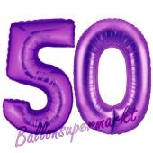 Zahl 50, Lila, Luftballons aus Folie zum 50. Geburtstag