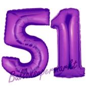 Zahl 51, Lila, Luftballons aus Folie zum 51. Geburtstag, 100 cm, inklusive Helium