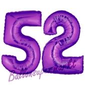 Zahl 52, Lila, Luftballons aus Folie zum 52. Geburtstag, 100 cm, inklusive Helium