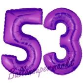 Zahl 53, Lila, Luftballons aus Folie zum 53. Geburtstag, 100 cm, inklusive Helium