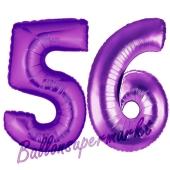 Zahl 56, Lila, Luftballons aus Folie zum 56. Geburtstag, 100 cm, inklusive Helium