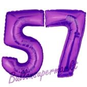Zahl 57, Lila, Luftballons aus Folie zum 57. Geburtstag, 100 cm, inklusive Helium
