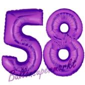 Zahl 58, Lila, Luftballons aus Folie zum 58. Geburtstag, 100 cm, inklusive Helium