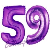 Zahl 59, Lila, Luftballons aus Folie zum 59. Geburtstag, 100 cm, inklusive Helium