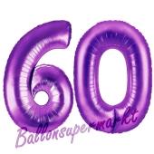 Zahl 60, Lila, Luftballons aus Folie zum 60. Geburtstag