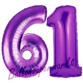 Zahl 61, Lila, Luftballons aus Folie zum 61. Geburtstag, 100 cm, inklusive Helium