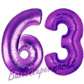 Zahl 63, Lila, Luftballons aus Folie zum 63. Geburtstag, 100 cm, inklusive Helium