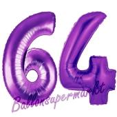 Zahl 64, Lila, Luftballons aus Folie zum 64. Geburtstag, 100 cm, inklusive Helium