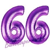 Zahl 66, Lila, Luftballons aus Folie zum 66. Geburtstag, 100 cm, inklusive Helium