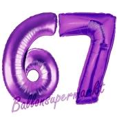 Zahl 67, Lila, Luftballons aus Folie zum 67. Geburtstag, 100 cm, inklusive Helium