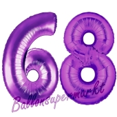 Zahl 68, Lila, Luftballons aus Folie zum 68. Geburtstag, 100 cm, inklusive Helium