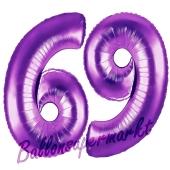 Zahl 69, Lila, Luftballons aus Folie zum 69. Geburtstag, 100 cm, inklusive Helium