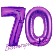 Zahl 70, Lila, Luftballons aus Folie zum 70. Geburtstag
