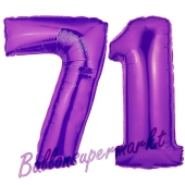 Zahl 71, Lila, Luftballons aus Folie zum 71. Geburtstag, 100 cm, inklusive Helium