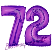 Zahl 72, Lila, Luftballons aus Folie zum 72. Geburtstag, 100 cm, inklusive Helium