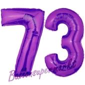 Zahl 73, Lila, Luftballons aus Folie zum 73. Geburtstag, 100 cm, inklusive Helium