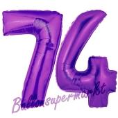 Zahl 74, Lila, Luftballons aus Folie zum 74. Geburtstag, 100 cm, inklusive Helium