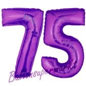 Zahl 75, Lila, Luftballons aus Folie zum 75. Geburtstag, 100 cm, inklusive Helium