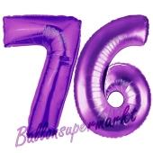 Zahl 76, Lila, Luftballons aus Folie zum 76. Geburtstag, 100 cm, inklusive Helium