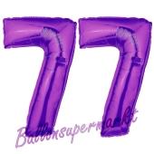 Zahl 77, Lila, Luftballons aus Folie zum 77. Geburtstag, 100 cm, inklusive Helium