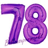 Zahl 78, Lila, Luftballons aus Folie zum 78. Geburtstag, 100 cm, inklusive Helium