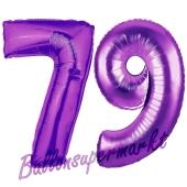 Zahl 79, Lila, Luftballons aus Folie zum 79. Geburtstag, 100 cm, inklusive Helium