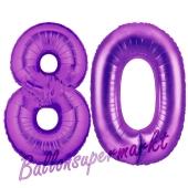 Zahl 80, Lila, Luftballons aus Folie zum 80. Geburtstag