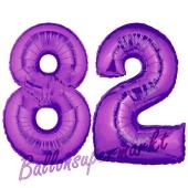 Zahl 82, Lila, Luftballons aus Folie zum 82. Geburtstag, 100 cm, inklusive Helium