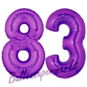 Zahl 83, Lila, Luftballons aus Folie zum 83. Geburtstag, 100 cm, inklusive Helium