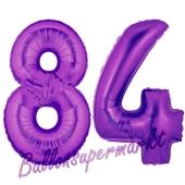 Zahl 84, Lila, Luftballons aus Folie zum 84. Geburtstag, 100 cm, inklusive Helium