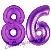 Zahl 86, Lila, Luftballons aus Folie zum 86. Geburtstag, 100 cm, inklusive Helium