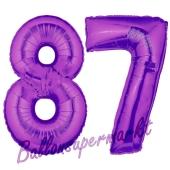 Zahl 87, Lila, Luftballons aus Folie zum 87. Geburtstag, 100 cm, inklusive Helium