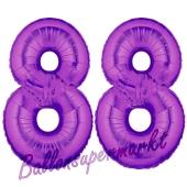 Zahl 88, Lila, Luftballons aus Folie zum 88. Geburtstag, 100 cm, inklusive Helium