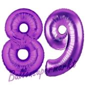 Zahl 89, Lila, Luftballons aus Folie zum 89. Geburtstag, 100 cm, inklusive Helium