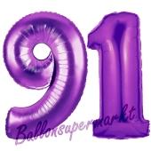 Zahl 91, Lila, Luftballons aus Folie zum 91. Geburtstag, 100 cm, inklusive Helium